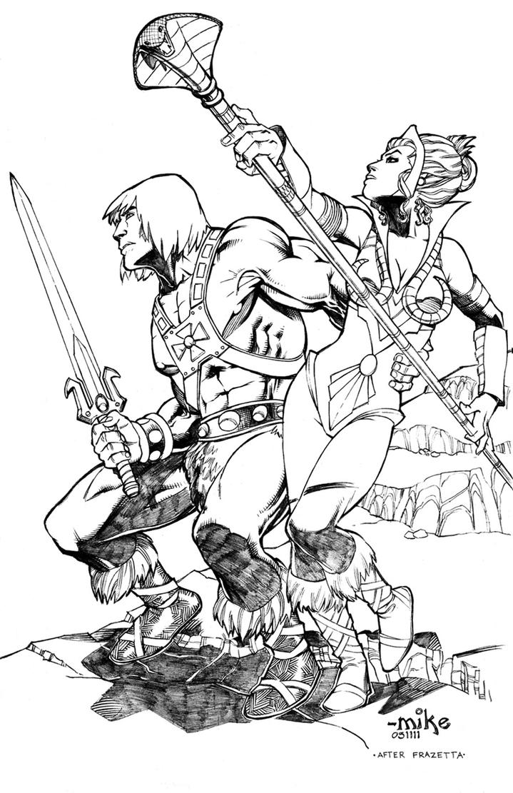 he man coloring pages - he man and teela by mikedimayuga on deviantart