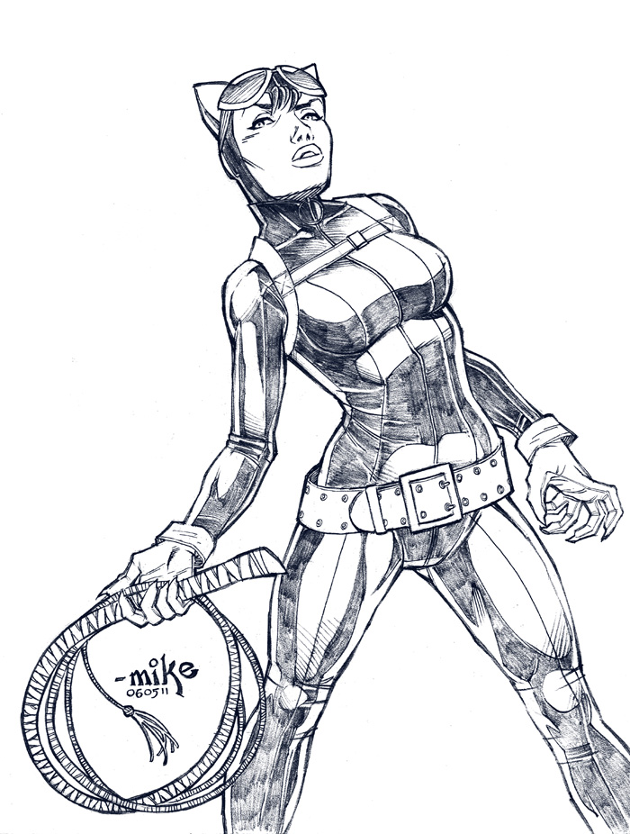 Catwoman BnW By MikeDimayuga