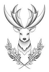 Deer tattoo design by Soppeldunk