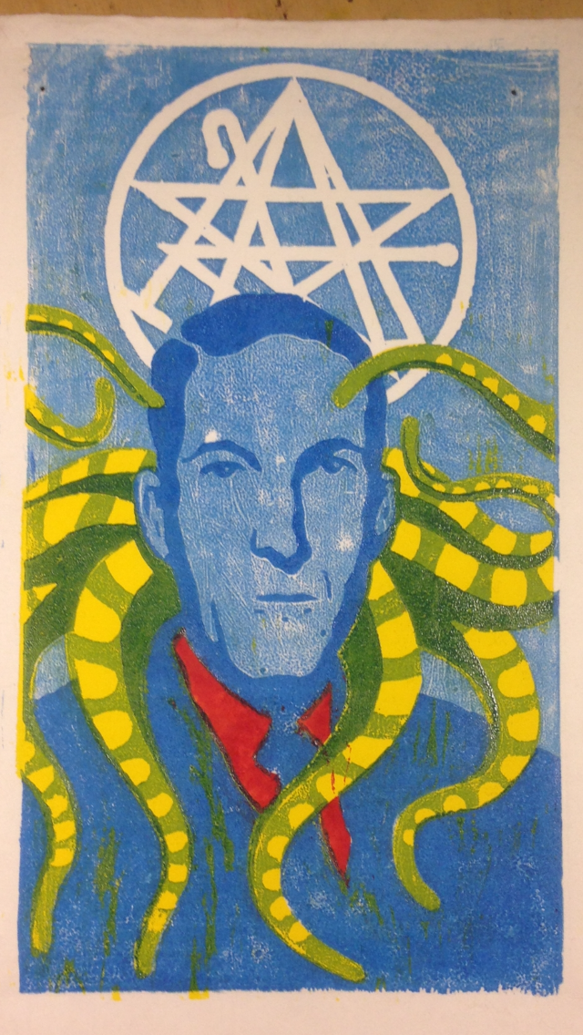 H.P. Lovecraft woodcut