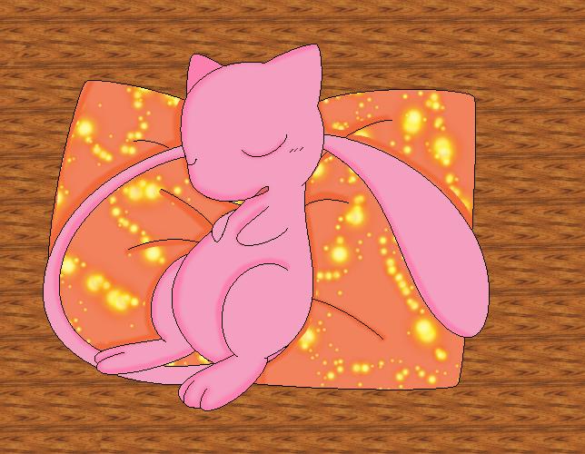 .:Sleeping Mew:. by deidaraXterra