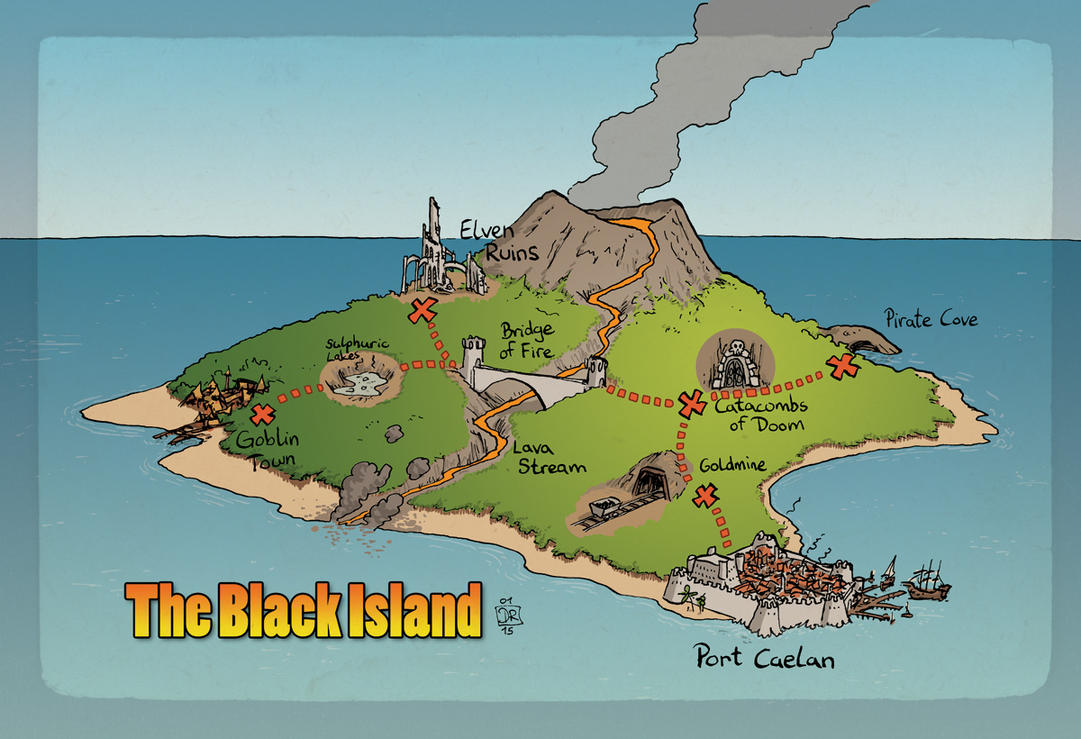 The Black Island Map by Domigorgon