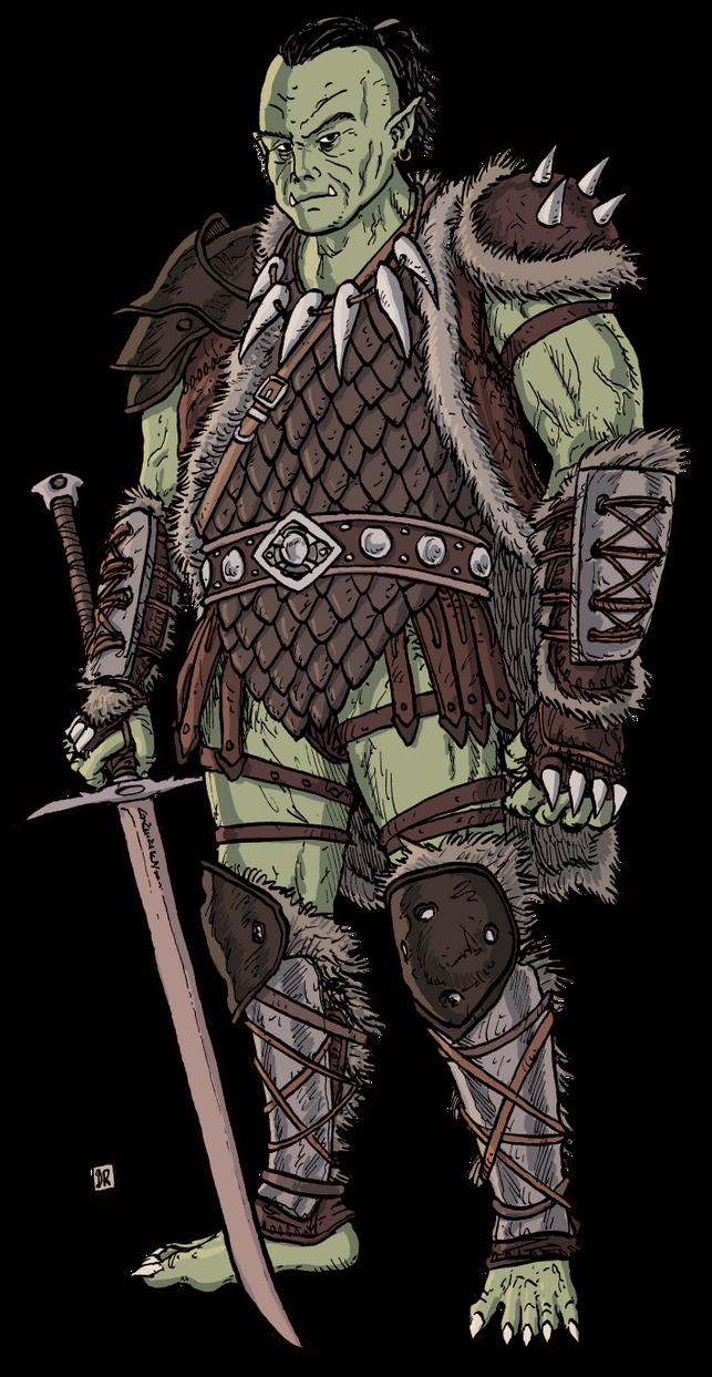 Half-Orc Barbarian by Domigorgon