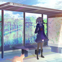 [ FANART ] SABER AT BUS STOP - FATE - FGO by o0Lucia0o