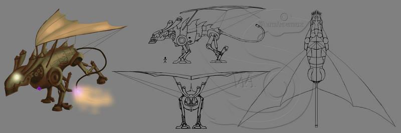 Steampunk Dragon 3-View