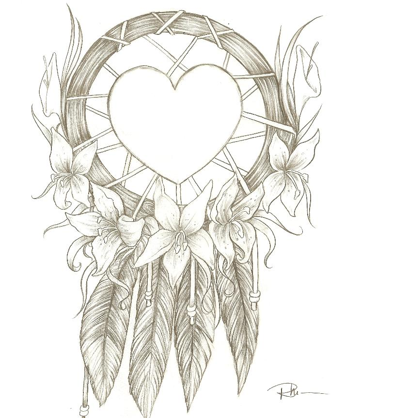 Dream catcher by rhionna on deviantart for Dream catcher tattoo template