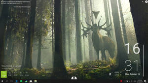 Simple desktop customization (Forest and deer) by darkopoppin