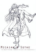 Lineart - Micaiah and Sothe by Meibatsu