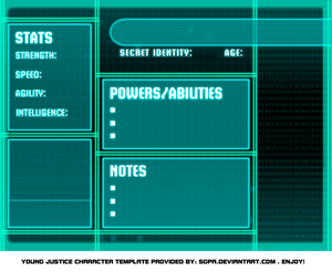Young Justice bios template
