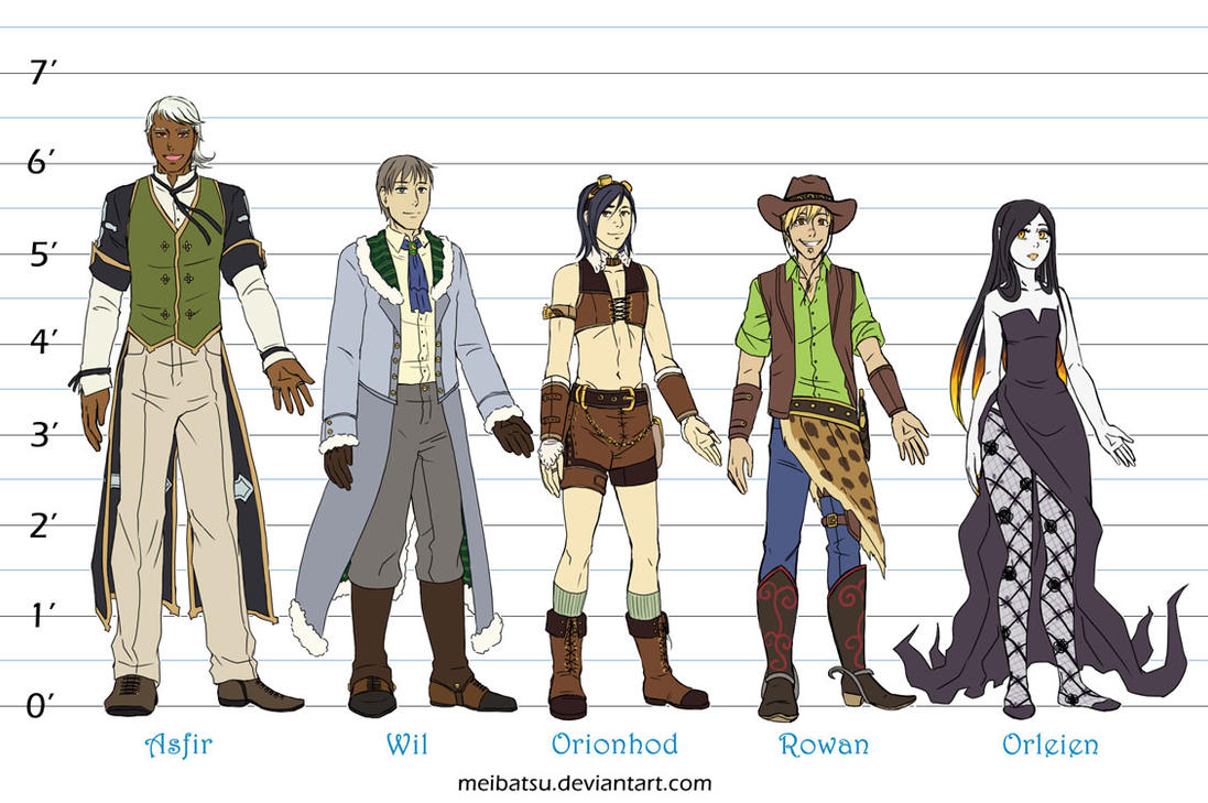 Myriad-Saga: height comparisons by Meibatsu on DeviantArt