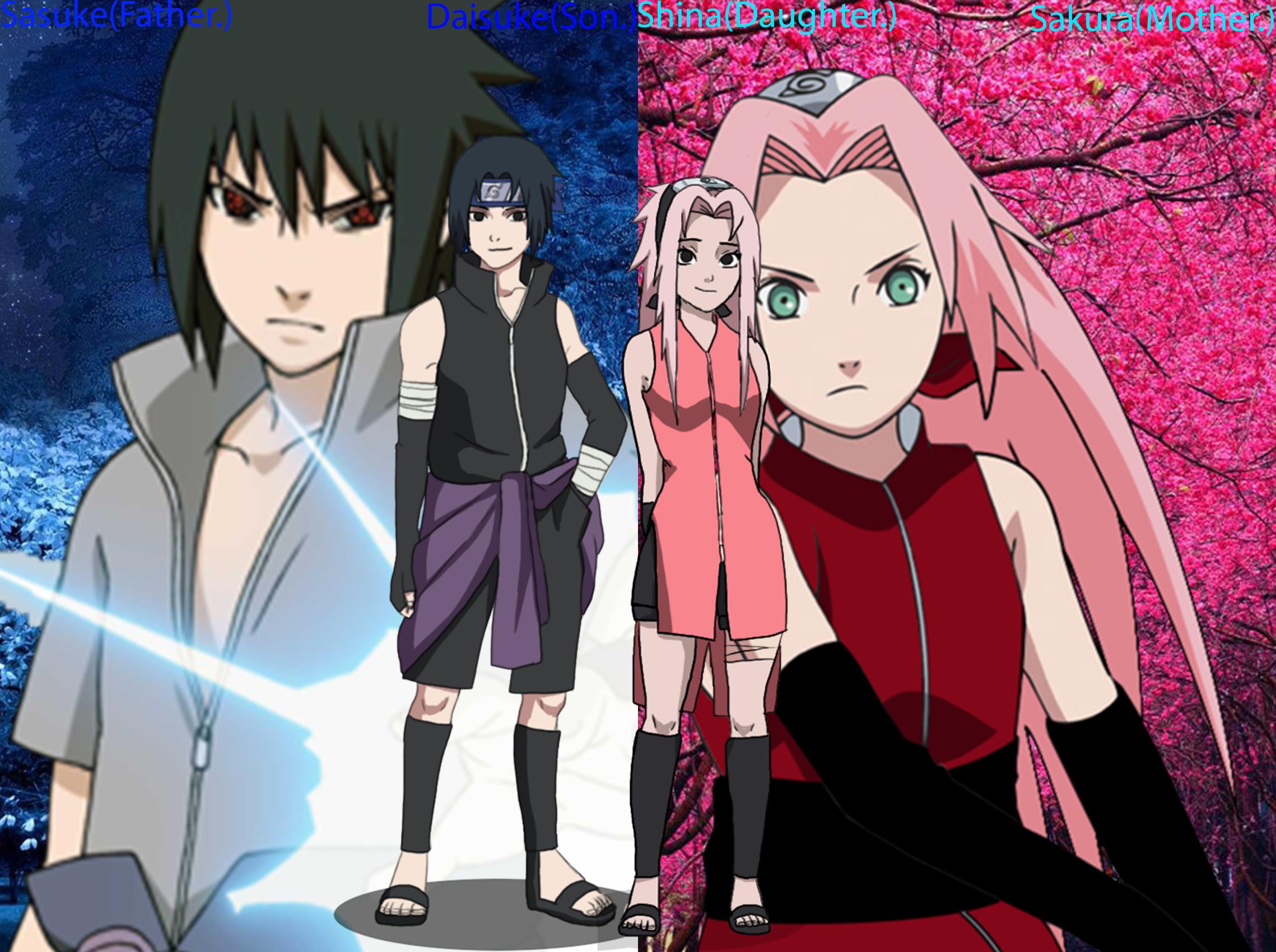 Sasuke's and Sakura's children Shina and Daisuke  by