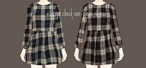 Vintage check one-piece dress Download