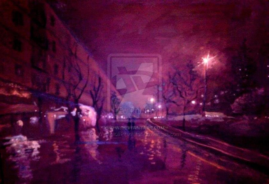 Rainy night by WerewolfPredator