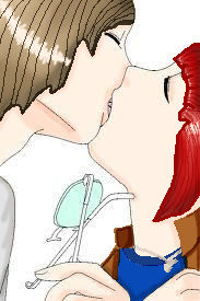 Otto and Leslie kiss