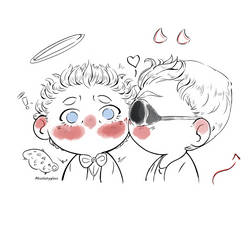 CHIBI Kiss Ineffable Husbands || Good Omens