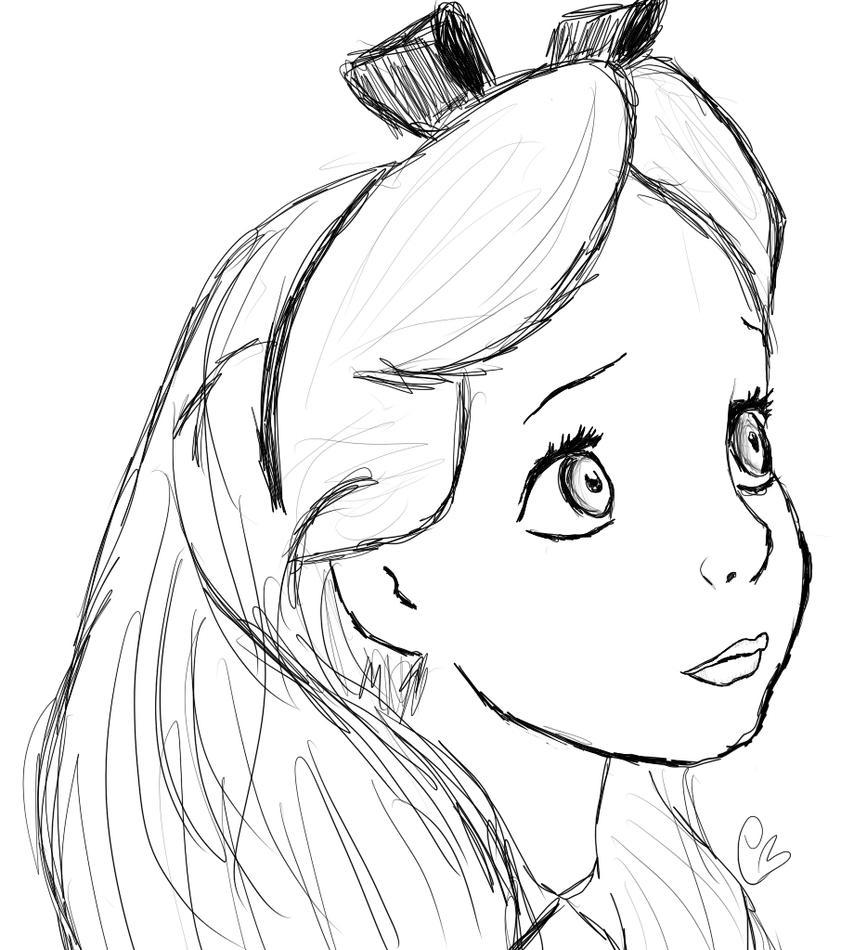 Walt Disney Sketch - Alice by LilCottonCandy on DeviantArt