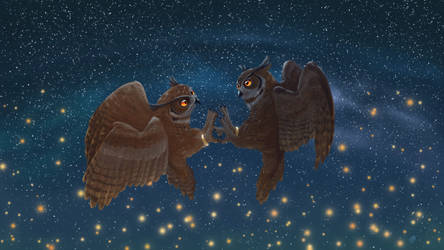Dancing owls by 0Riane0