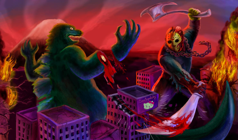 Godzilla VS Jason by Danomight