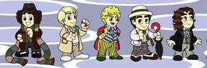 Chibi 11 Doctors by cardinalbiggles