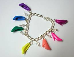 Barbie Shoe Charm Bracelet by SupernovaDesigns
