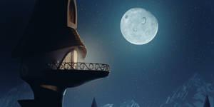 Luna's Determination: Canterlot tower at night