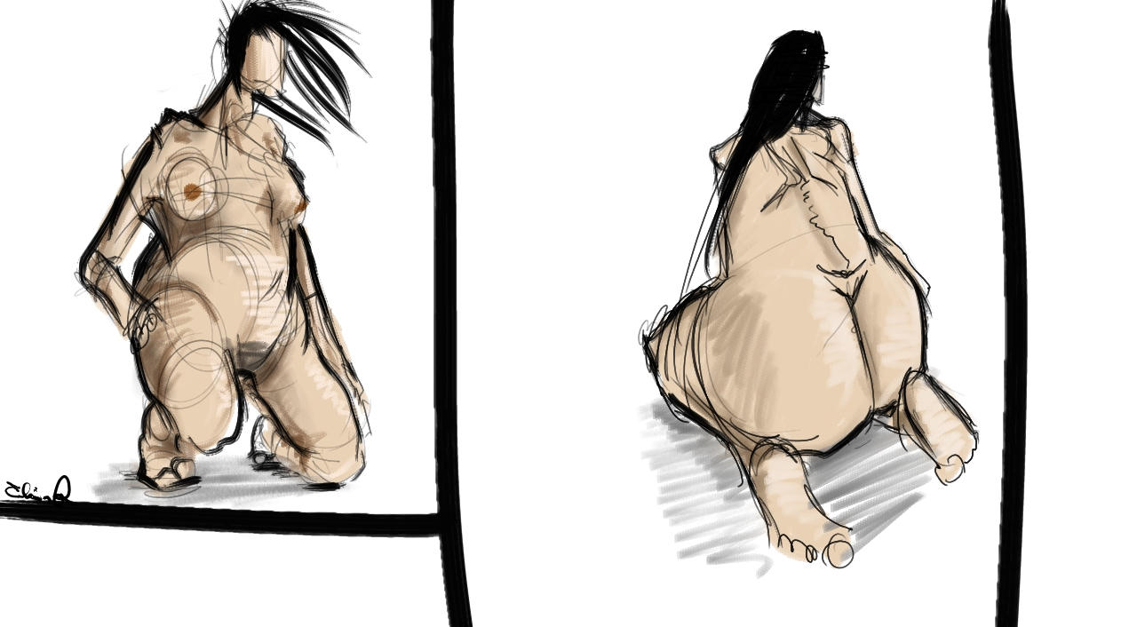 Naked woman sketches 3