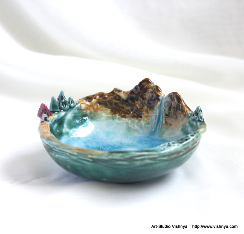 Magical planet of tiny fairies - ceramic dish by vavaleff
