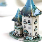 Turquoise-Brown fairy house