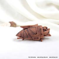 OOAK Ceramic terracotta spaceship - 1