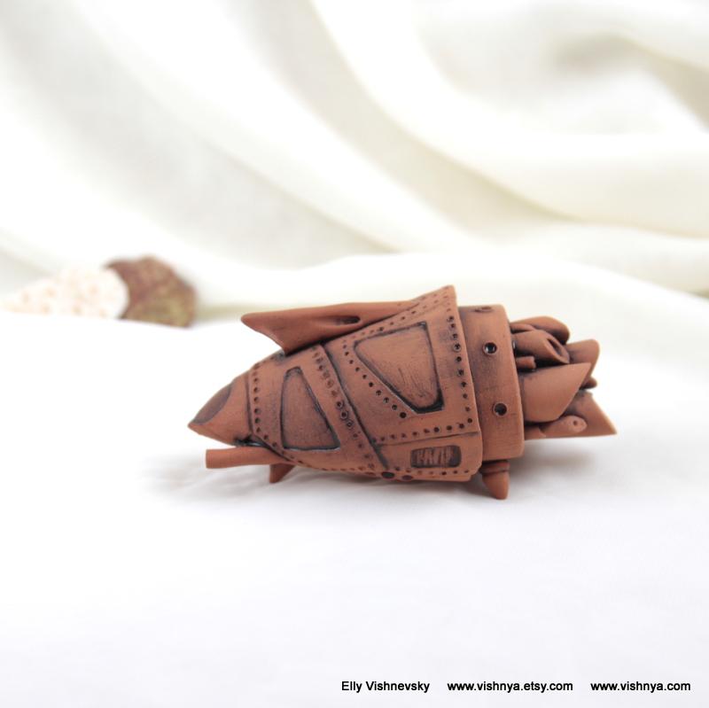OOAK Ceramic terracotta spaceship - 1 by vavaleff
