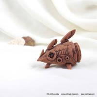 OOAK Ceramic terracotta spaceship - 2