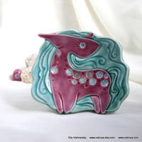 Pink-Turquoise Unicorn (Soap Dish - Wall picture)