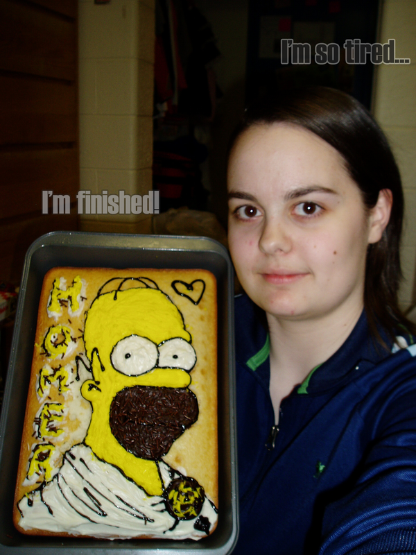 Mae and Homer - cake portrait by maeoneechan