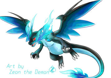 Mega Charizard X pokemon fan art by Zeoncat