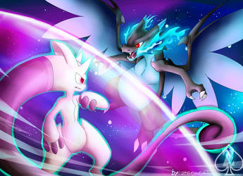 Mewtwo y vs Charizard X by Zeoncat