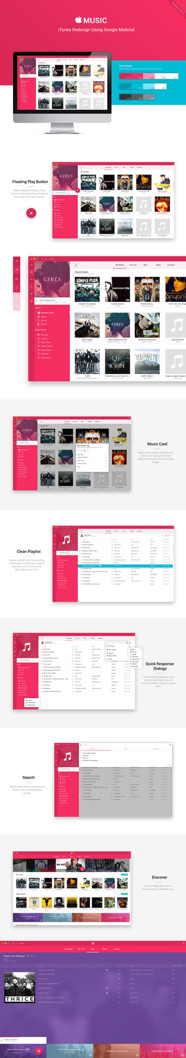 Apple iTunes Redesign Using Google Material by uiuxlab