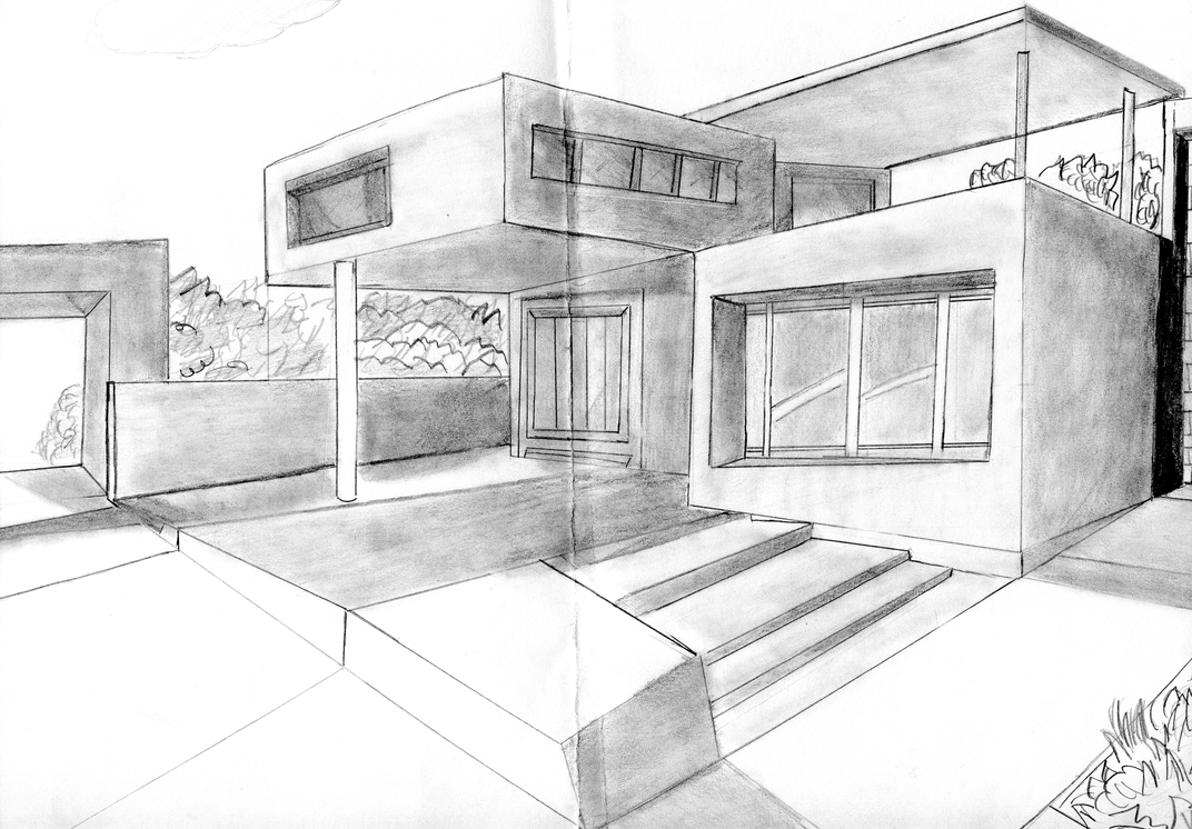 2 Point Perspective Drawing Modern House House1 By Azuregundam