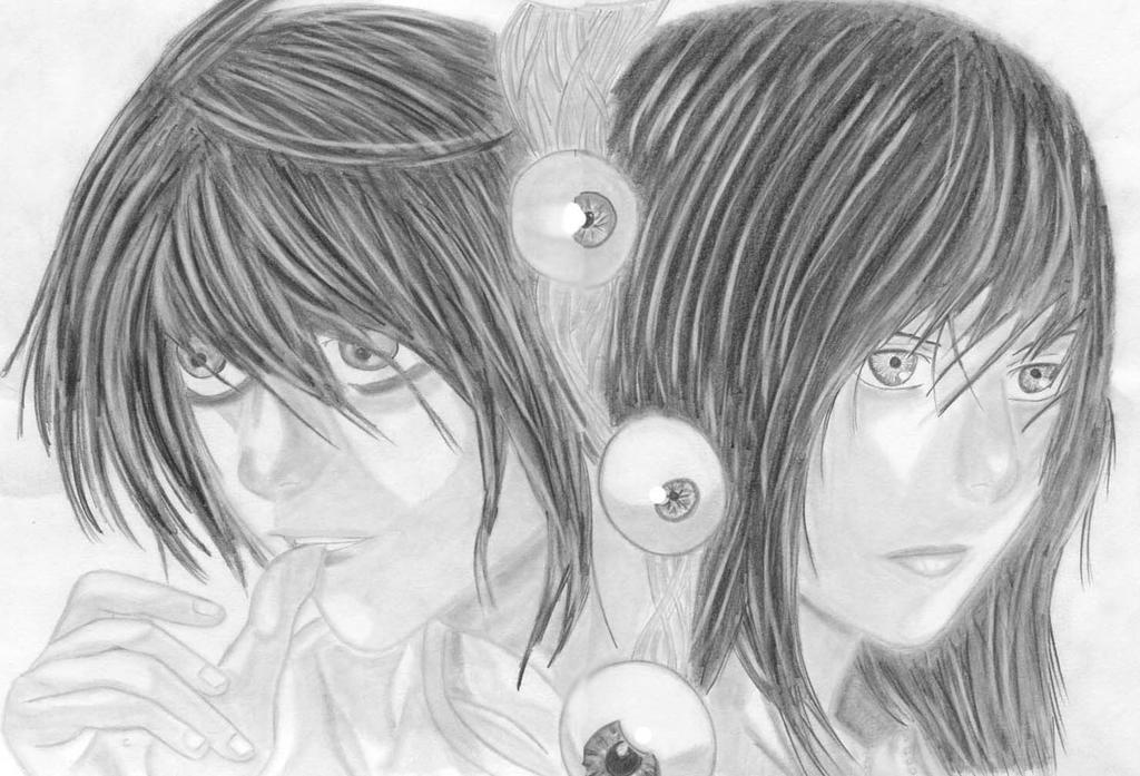 Death Note - L and Misora by azuregundam
