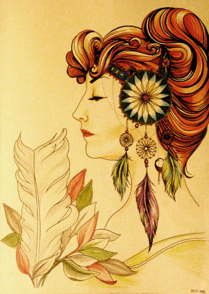 Drawing inspired by Alphonse Mucha by Katy0Kate
