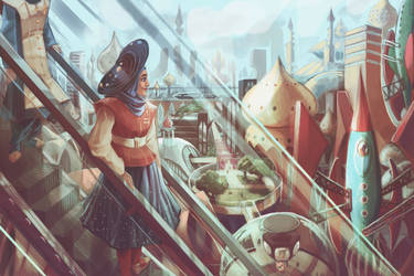 To the Future! Landscape (WIP) by cocokat