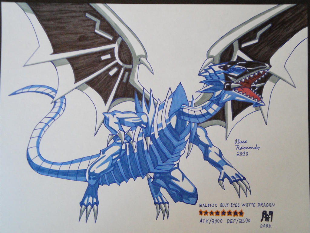 malefic blue eyes white dragon drawing