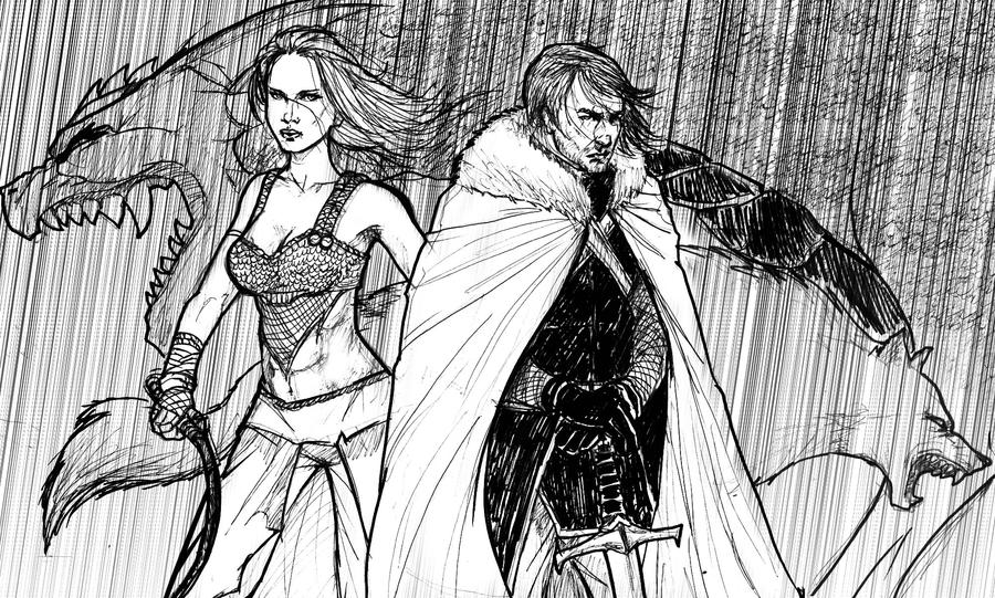 Daenerys Targaryen and Jon Snow by zenlang