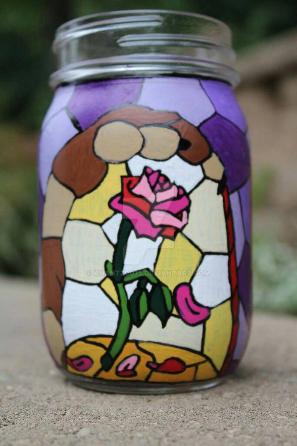 Beauty And The Beast Stained Glass Jar By Anantz0075 On Deviantart