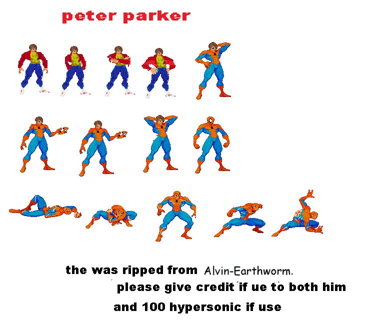 Peter Parker Sprite Sheet By 100hypersonic On Deviantart