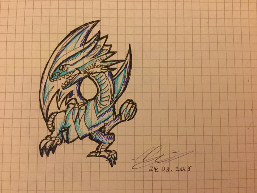 blue eyes white dragon yugioh by painting music on deviantart