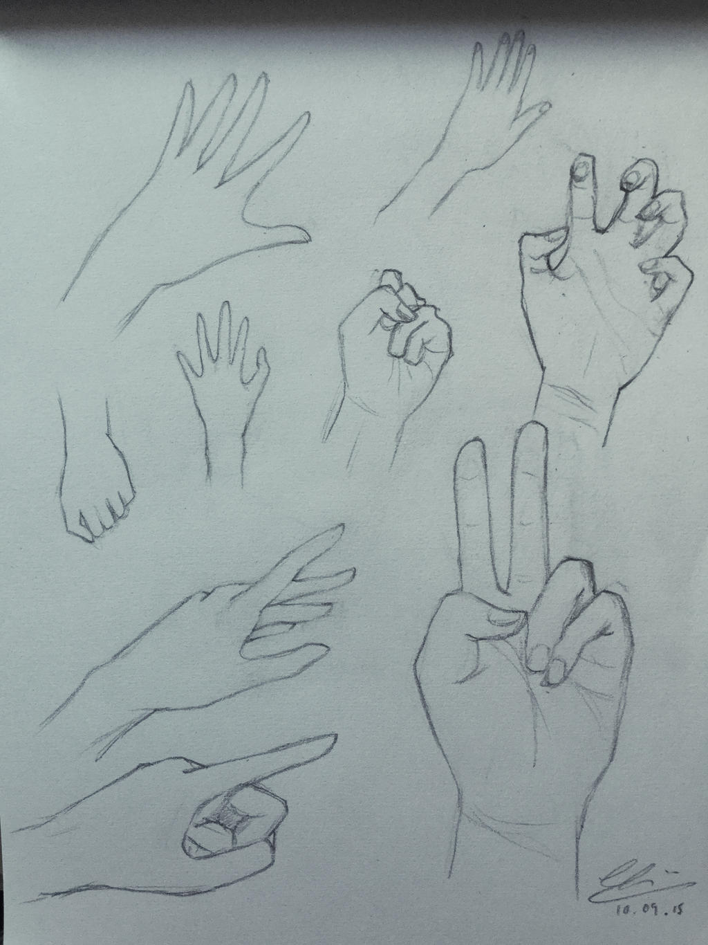 Sketches of hands in various poses by painting music