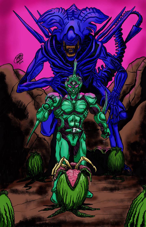 The Guyver vs Alien queen  by MonsterIslandStudios