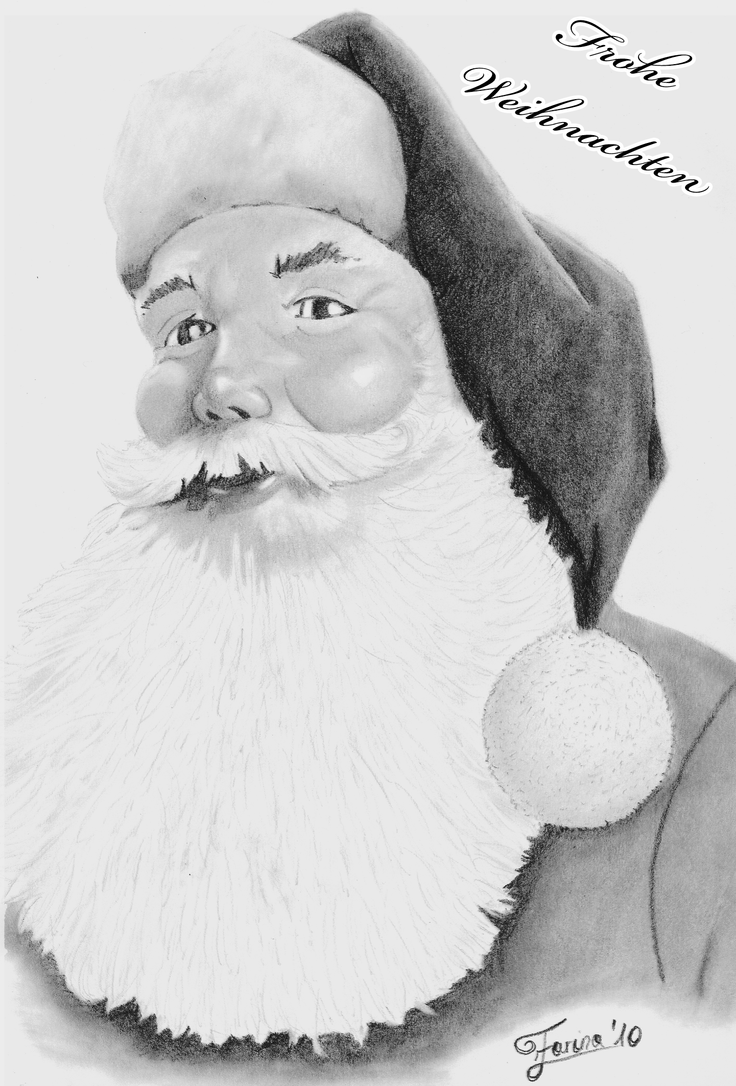 Santa Claus Pencil Drawing by AniraFarinA