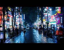 Kabukicho Rain by burningmonk
