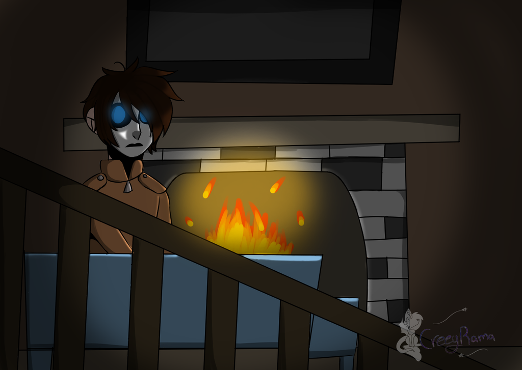 Creeptober day 9,10, and 11 the man by the fire by TheoAnime
